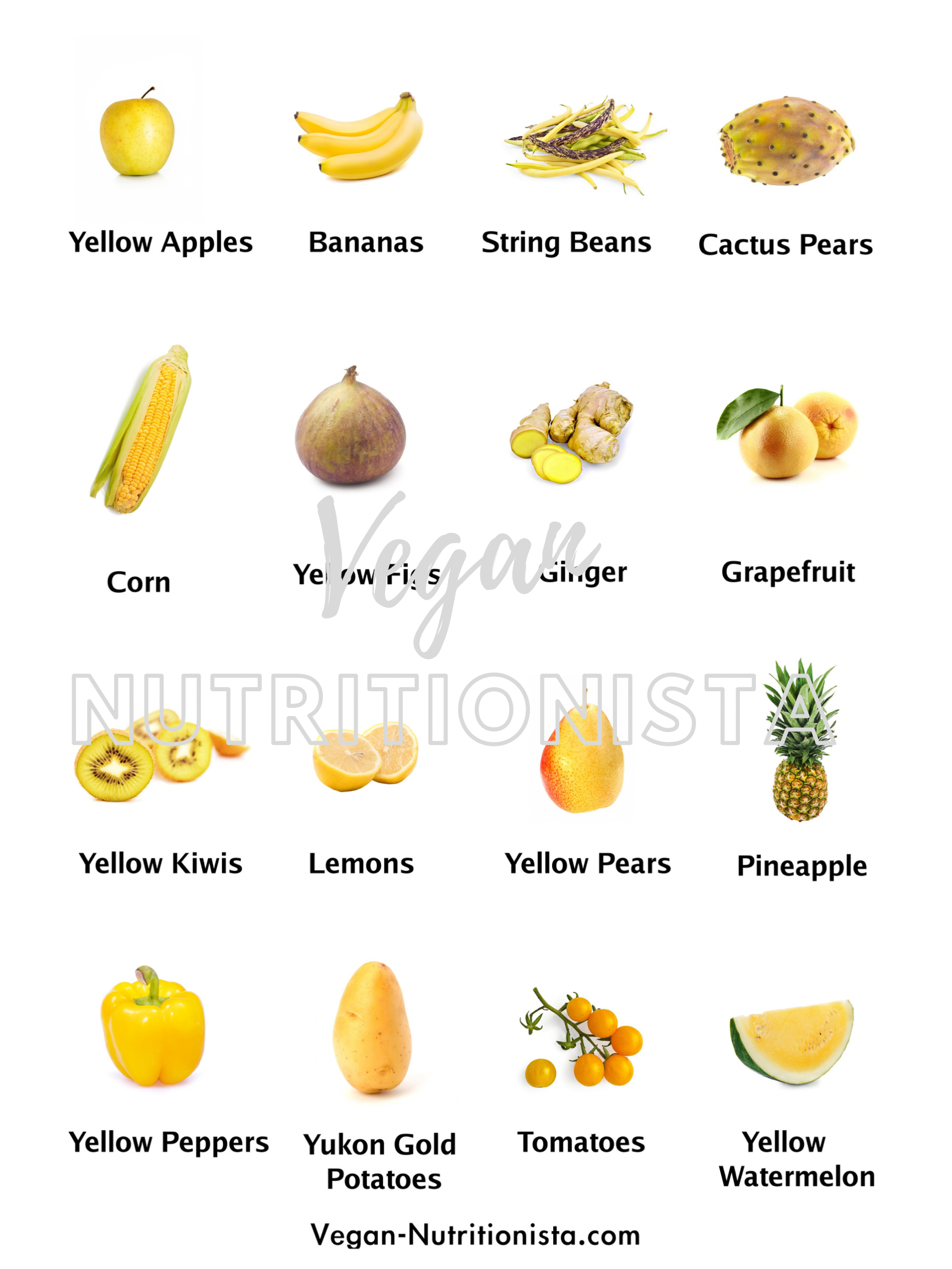 A picture showing the yellow fruits and vegetables