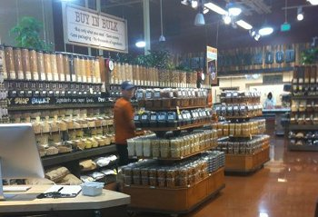 love to buy vegan whole grains, beans, and spices in bulk at Whole Foods.
