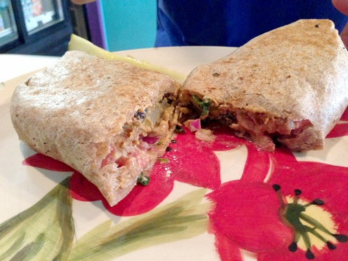 Khan's Desserts has daily specials, like this vegan breakfast burrito.
