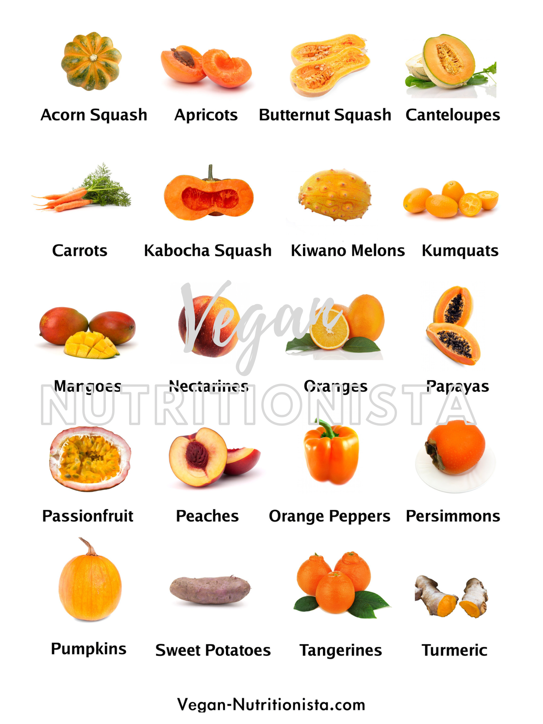 A picture showing the orange fruits and vegetables