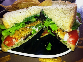 TLT, tempeh, lettuce, and tomato sandwich from Firestorm Books and Cafe Asheville NC