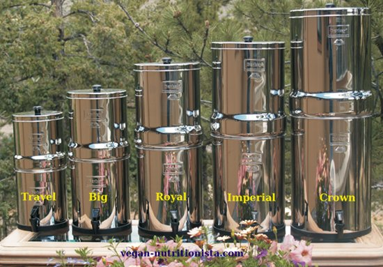 Berkey Water Purifiers come in 6 sizes