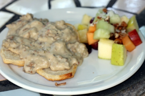 Cafe Hibiscus's vegan biscuits and gravy, made with soysage.