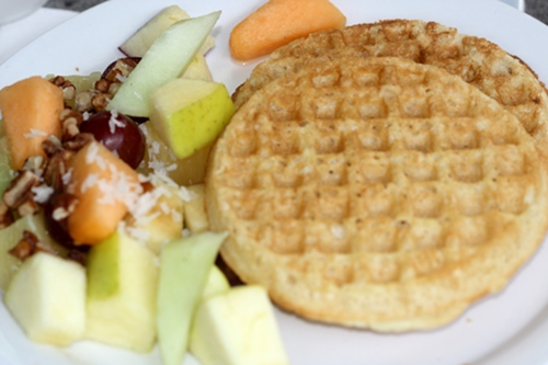 Cafe Hibiscus's vegan whole wheat waffle with peanut butter and fruit