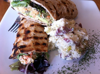 Chickpea sandwich with fresh potato salad at Plant Restaurant, Asheville, NC