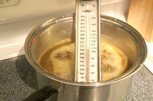 Boiling sugar and butter to make caramel
