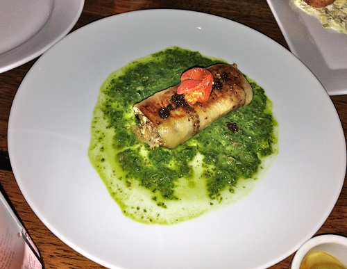 Vedge's eggplant braciole with smoked cauliflower and salsa verde reminds me of a dish at the former Horizons.