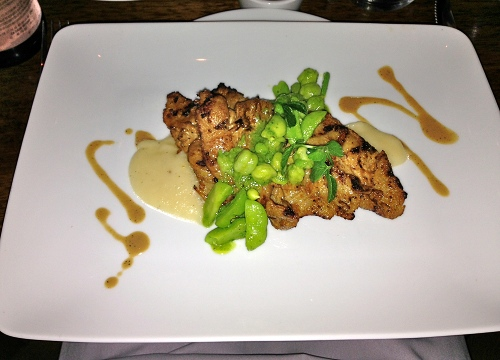 Vedge's grilled seitan with mashed parsnips and English peas.