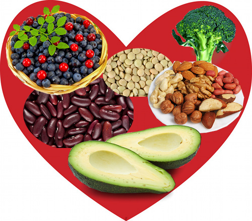 Heart healthy foods include fruits, vegetables, beans, legumes, whole grains, nuts, and seeds.