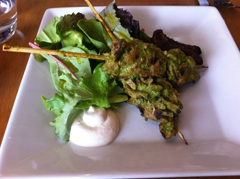 Herbed seitan skewers from Plant Vegan Restaurant, Asheville