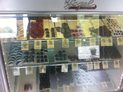 Lagusta's Luscious Homemade Vegan Chocolates in the display case