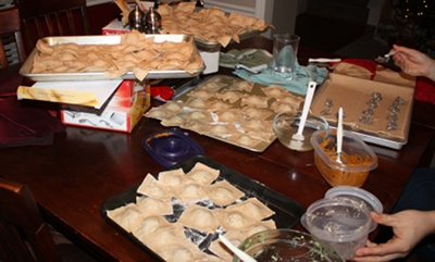 Our system for making homemade ravioli, see the butternut squash ravioli on the side?