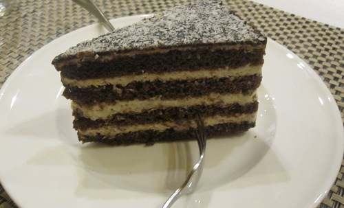 Vegan carob and coconut cake at Napfenyes Etterem in Budapest, Hungary.