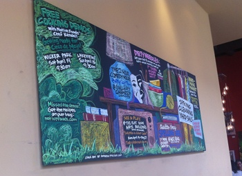 The events board at Native Foods in Chicago gets locals involved.