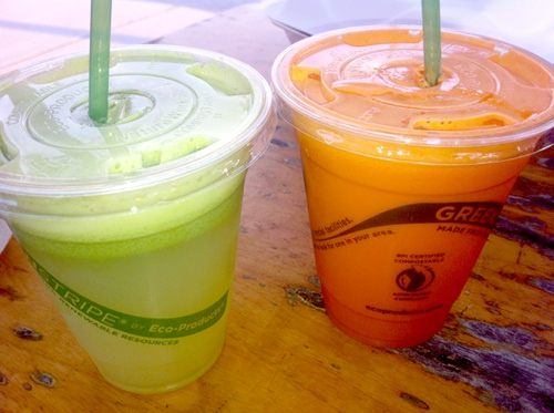 Two of Raw and Juicy's most popular juices, the namesake Raw and Juicy and the Green Goddess