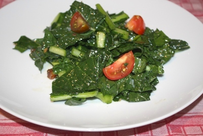 The anti-cancer diet encourages you to eat a large raw greens salad at least once a day. This raw kale salad would be perfect.