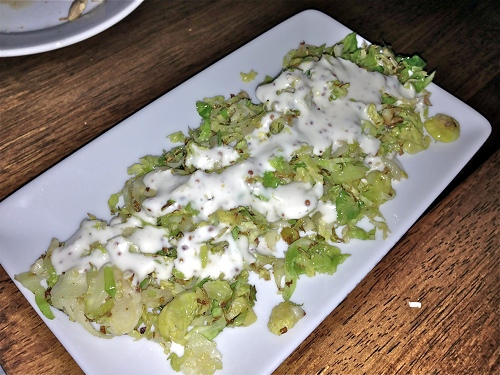 Vedge's shaved and roasted Brussels sprouts with smoked mustard sauce.