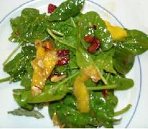 Vegan Spinach Salad with Mango and Almonds