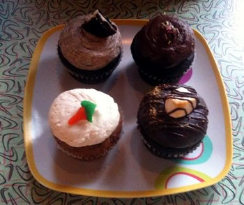 Assortment of vegan cupcakes at Sticky Fingers Bakery in Columbia Heights, Washington, DC.