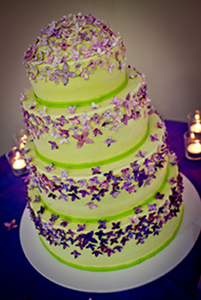 Our beautiful and delicious vegan wedding cake from Sticky Fingers Bakery.
