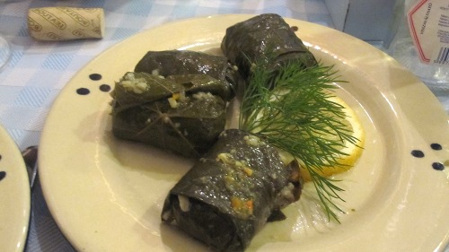 Taverna Dionysos in Budapest serves tasty grape leaves stuffed with rice.