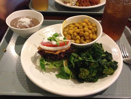 Sunflower's veggie burger, curried chickpeas, and chocolate mousse.
