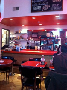 The Chicago Diner has a cute, retro design, including the perfect red counter stools and booths.