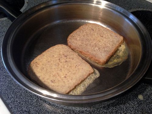 One of the keys to making perfect French toast is not to mess with the bread once you've placed it in the pan. Let it turn brown before flipping it over.