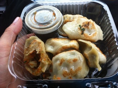 Vegan dumplings from Cafe Sunflower in Atlanta, filled with vegetables and served with a nice dipping sauce.