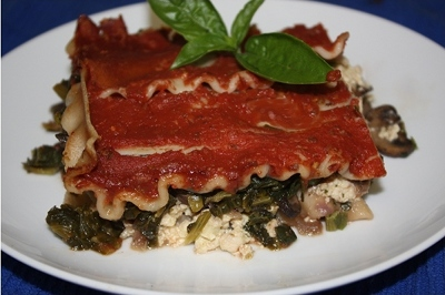 Vegan lasagna with kale and tofu ricotta