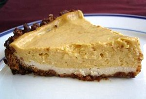 Double layer vegan pumpkin cheesecake.