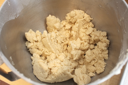 Vegan shortbread dough should look a bit crumbly