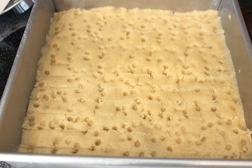 I dotted the surface of the shortbread with holes for texture