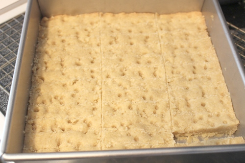 Vegan shortbread that I cut into strips
