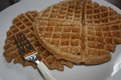 Vegan breakfast of whole grain vegan waffles.