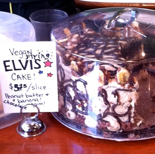 Wild Cow Nashville Elvis Cake with peanut butter, chocolate, and banana.