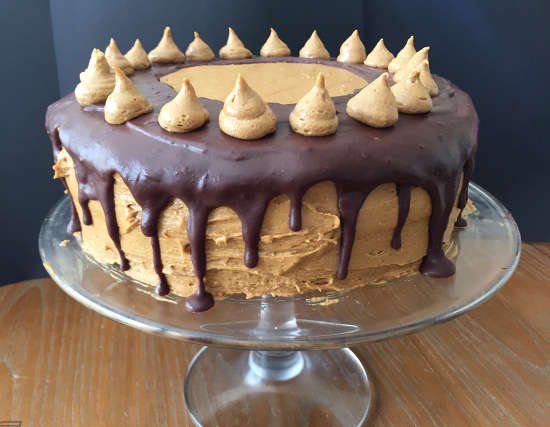 Vegan Chocolate Cake with Peanut Butter Frosting