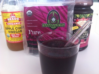 I made my own version of the popular Concord grape apple cider vinegar drink.