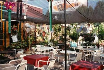 The patio is cool in the summer and heated in the winter.