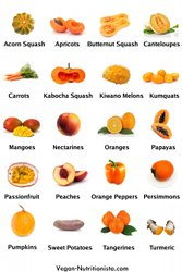 Buy Vegan Nutritionista's Orange Fruits and Vegetables Poster