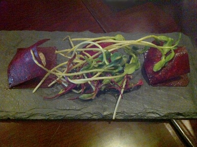Cafe Blossom Beet Ravioli filled with cashew cheese