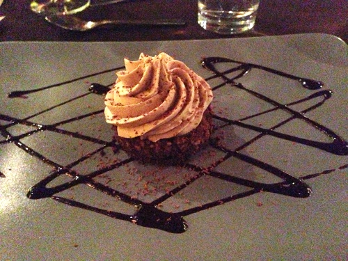 Raw pecan torte with caramel coconut whipped cream at Sutra.