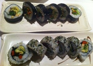 The inside of Sansei's Paia Roll and Grilled Veggie Rolls