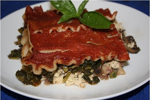 Spinach and Mushroom Vegan Lasagna