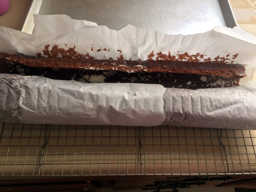 Unrolling the Buche de Noel needs to be done delicately